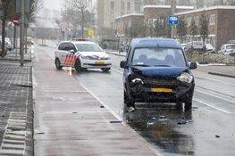 Kop-staart aanrijding in winterweer in Zandvoort